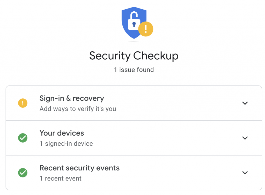 Google account security checkup page